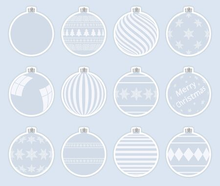 Magic, light gray christmas balls stickers isolated on gray background. High quality vector set of christmas baubles.