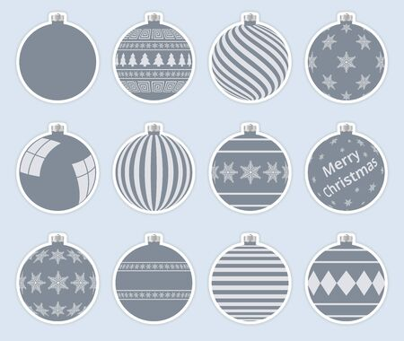 Magic, dark gray christmas balls stickers isolated on gray background. High quality vector set of christmas baubles.
