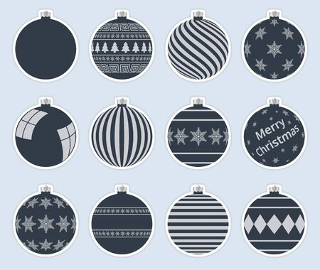 Magic, dark christmas balls stickers isolated on gray background. High quality vector set of christmas baubles.