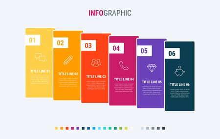 Colorful diagram, infographic template. Timeline with 6 options. Workflow process for business. Vector design. Warm palette.