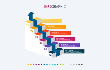 Infographic template. 6 colorful options. Stairs infographic. Design with beautiful colors. Vector timeline elements for presentations Warm palette. 写真素材 - 136034845