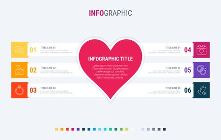 Colorful diagram, infographic template. Love infographic template with 6 steps. Heart workflow process for valentines. Vector design. Warm palette. 写真素材 - 138080262
