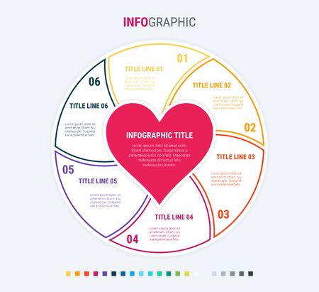 Infographic love template. 6 steps design with beautiful colors. Vector infographic elements for presentations. Warm palette. 写真素材 - 138080260