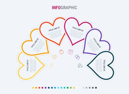 Colorful diagram, heart infographic template. Timeline with 6 hearts. Love workflow process for valentines. Vector design. Warm palette. 写真素材 - 138080259