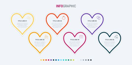 Infographic template. 6 hearts design with beautiful colors. Vector timeline elements for presentations. Warm palette. 写真素材 - 138080264