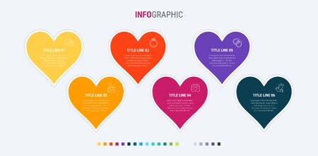 Colorful diagram, infographic template. Timeline with 6 hearts. Modular workflow process for love holidays. Vector design. Warm palette.