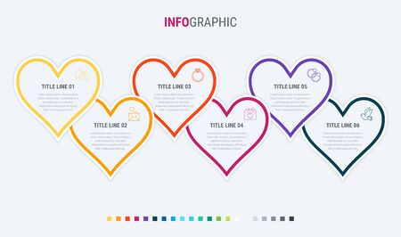 Vector infographics timeline design template with hearts elements. Content, schedule, timeline, valentines day, mothers day, flowchart. 6 steps infographic. Warm palette. 写真素材 - 138080265
