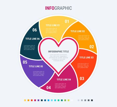 Infographic template. Love is in the air. 6 steps hearted design with beautiful colors. Vector timeline elements for presentations. Warm palette. 写真素材 - 138080268