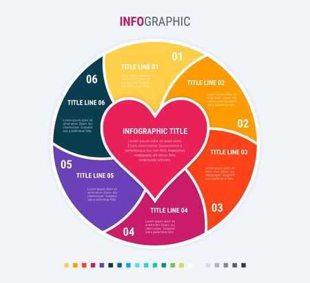 Colorful diagram, infographic template. Love infographic template with 6 steps. Heart workflow process for valentines. Vector design. Warm palette.