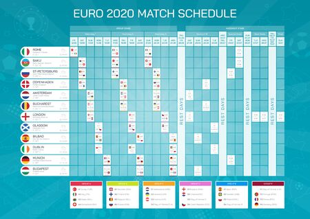 football results table with flags. Euro football championship match schedule. All european countries participating to the final tournament.