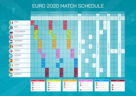 match schedule - football championship timetable. All european participating countries - high quality vector with flags for print and web. Ilustração
