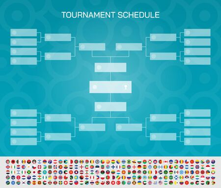 Football match schedule. Tournament chart for groups and teams. Football cup final round with all national flags of the world. Vector illustration.