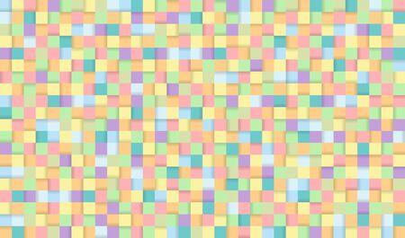 Abstract pixel background illustration. Seamless colorful squares background with shadows.