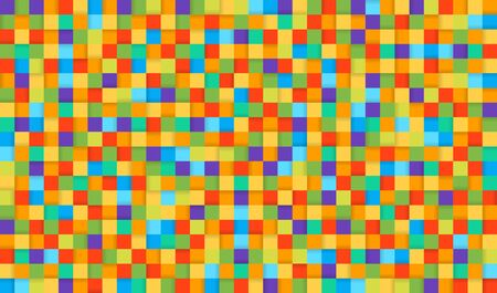 Pixel style colorful background with shadows. Colored squares abstract background.  イラスト・ベクター素材