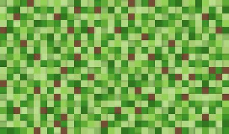 Abstract pixel background illustration. Seamless green and brown squares background with shadows.