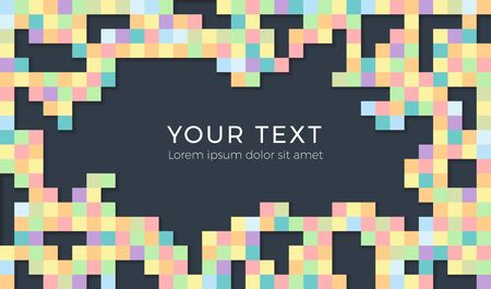 Abstract pixel background illustration. Seamless colorful squares background with shadows and empty space for text.