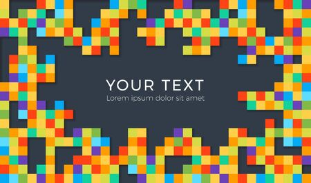 Pixel style colorful background with shadows. Colored squares abstract background. Empty place for text or message.