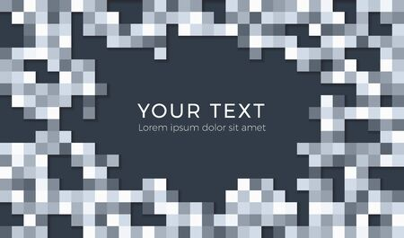 Abstract tiles background illustration with your text or your message. Seamless grayscale squares background with shadows for card or poster.