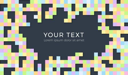 Abstract background with scattered mosaic pieces. Seamless colorful pixel background with space for text.
