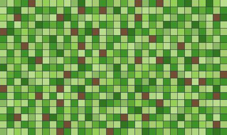 Abstract green and brown pixel art style vector background.  イラスト・ベクター素材