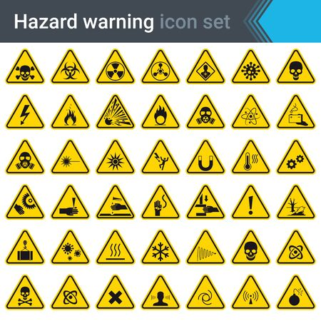 Hazard warning signs on yellow triangles. Set of signs warning about danger. 42 high quality hazard symbols and elements. Danger icons. Vector illustration. Banco de Imagens - 148716762