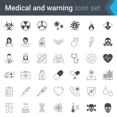 Medical, warning and hospital stroked icons. High quality hazard, danger and medical symbols and elements. Virus warning, protection and health care vector set.