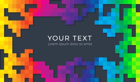 Color spectrum abstract pixel background illustration. Seamless colorful squares background with shadows and empty space for text.  イラスト・ベクター素材