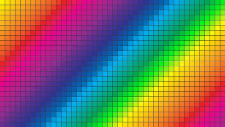 Abstract pixel background illustration. Color spectrum colorful squares background.