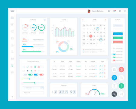 Marketing platform user interface (ui). Flat interface elements set of e-commerce platform. Dashboard admin panel with charts, graphs, calendar and business icon set. UI and UX vector illustration. Vettoriali