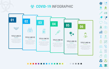 Timeline covid-19 infographic design vector. 6 steps, graph workflow layout. Vector coronavirus infographic timeline template. Many additional icons.