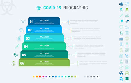 Covid-19 infographic template. 6 steps to prevent coronavirus, designed with beautiful colors. Vector timeline elements for print, presentations or internet. Many additional icons.