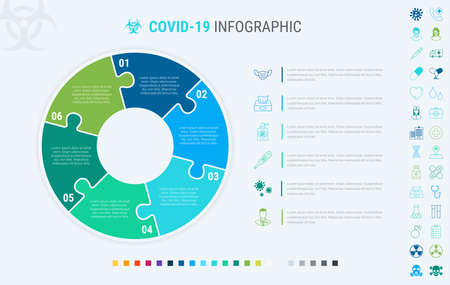 Coronavirus modular infographic template with 6 steps. Covid-19 colorful diagram, timeline and schedule isolated on light background. Many additional icons.  イラスト・ベクター素材