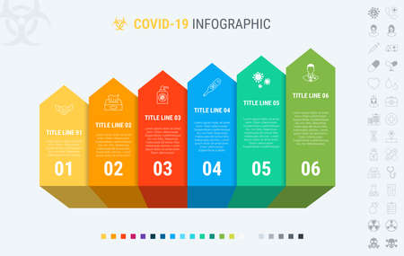 Colorful diagram of covid-19 infographic template. Timeline with 6 steps. Coronavirus workflow diagram. Vector design. Many additional icons.  イラスト・ベクター素材