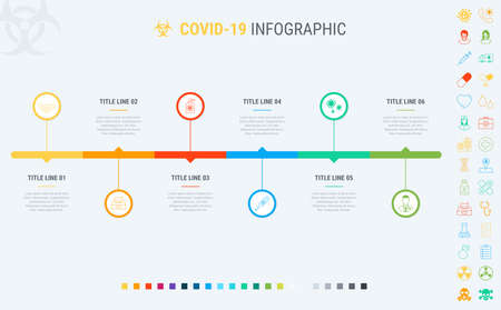 Coronavirus timeline. Covid-19 infographic template, 6 steps. Process and workflow layout. Vector infographic timeline template. How to prevent coronavirus? Many additional icons.