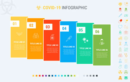 Vector covid-19 infographics timeline design template with graph elements. Content, schedule, timeline, diagram, workflow, coronavirus, infographic, flowchart. 6 steps infographic.