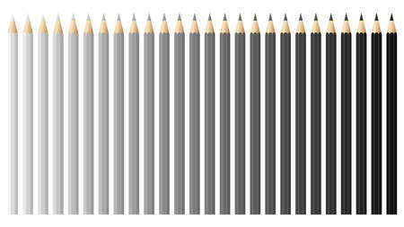 Black and white pencils, crayons set, back to school. Black and white spectrum vector pencils and crayons isolated on white background. Very high quality.