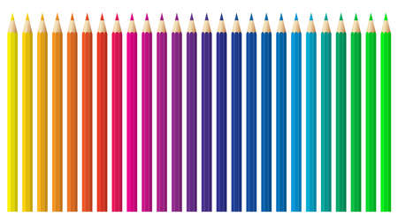 Colored pencils, crayons set, back to school. Color spectrum vector pencils and crayons isolated on white background. Very high quality.