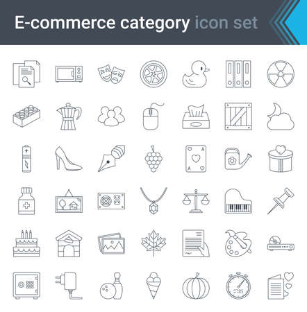 Set of e-commerce and online shopping web icons in line style. Mobile shop, digital marketing. High quality vector illustration. Çizim