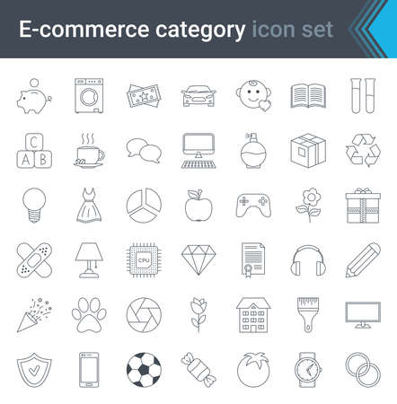 E-commerce and online shopping simple icon set isolated on white background. High quality vector