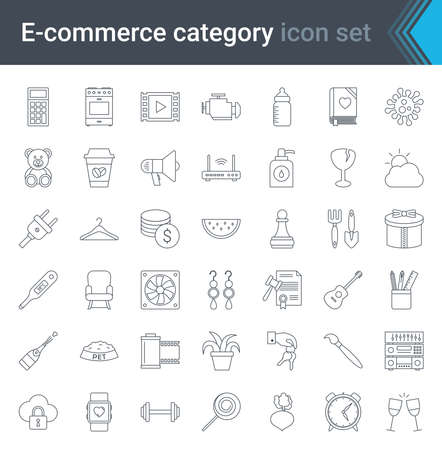 Shop category outline icons set. Shopping and e-commerce thin line icons