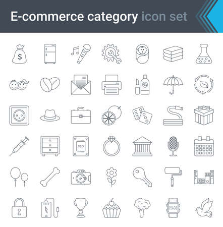 Online shopping and e-commerce category linear icons set isolated on white background. High quality vector