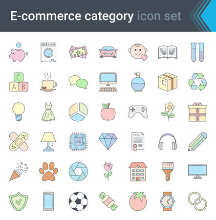 Set of e-commerce and online shopping web colorful icons in line style. Mobile shop, digital marketing. High quality vector illustration.