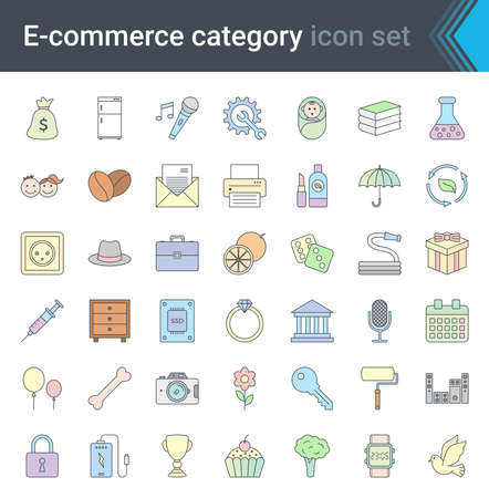 Shop category outline icons set. Shopping and e-commerce thin line colorful icons