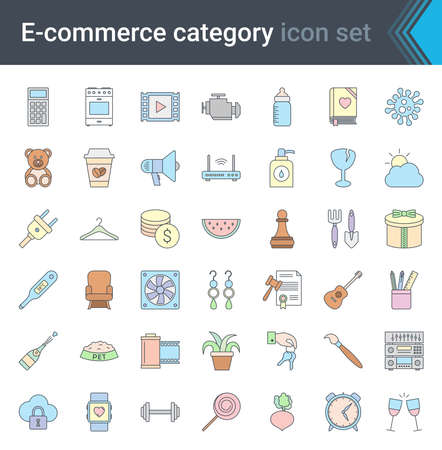 Online shopping and e-commerce category linear colorful icons set isolated on white background. High quality vector
