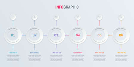 Abstract business rounded infographic template with 6 options. Colorful diagram, timeline and schedule isolated on light background.