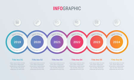 Abstract business circle infographic template with 6 steps. Colorful diagram, timeline and schedule isolated on light background.