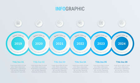 Abstract business circle infographic template with 6 steps. Blue diagram, timeline and schedule isolated on light background.