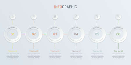Abstract business rounded infographic template in vintage colors, with 6 options. Colorful diagram, timeline and schedule isolated on light background. Stock Illustratie