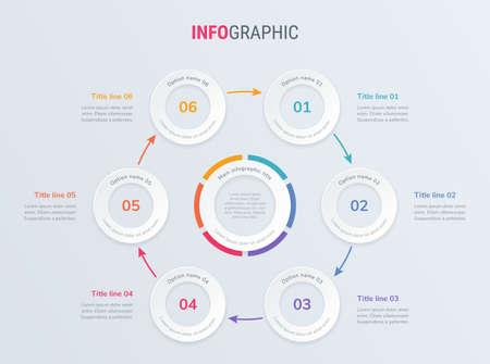 Timeline infographic design vector. 6 steps, rounded workflow layout. Vector infographic timeline template.