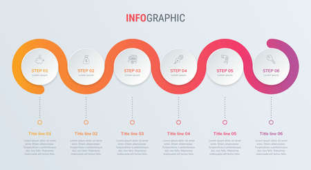 Red timeline infographic design vector. 6 options, circle workflow layout. Vector infographic timeline template.
